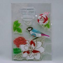 Textielverf en meer stempel 11x13 roos