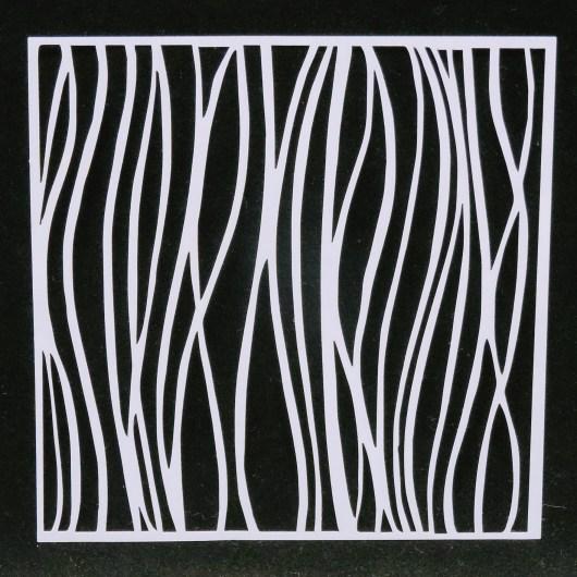 Textielverf en meer stencil 15 x15cm gebogen lijnen