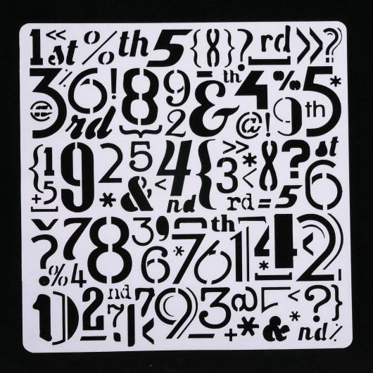 Textielverf en meer stencil 13x13cm cijfers en tekens