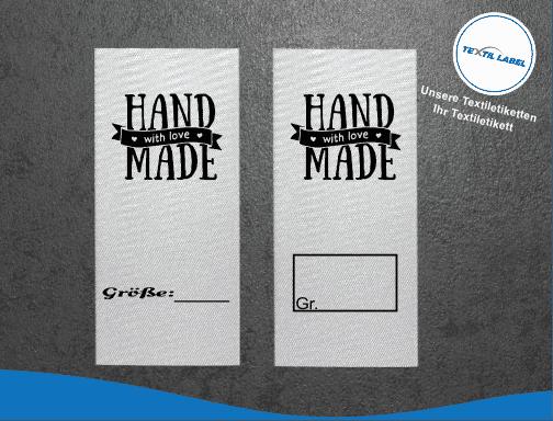 Textil-Label.de Handmade with Love Größenetikett Textiletiketten Textiletiketten für Größenbeschriftung M025026