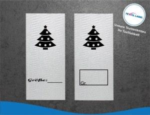 Textiletiketten mit Weihnachtsbaum Größenetikett Textiletiketten für Größenbeschriftung