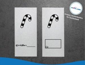 Textiletiketten mit Zuckerstange Größenetikett Textiletiketten für Größenbeschriftung