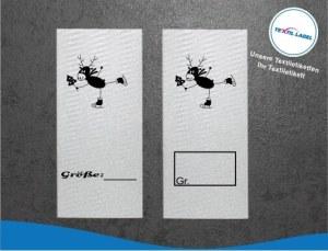Textiletiketten mit Wichtelfamilie Rentier auf Schlittschuhe