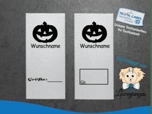 Namensetiketten mit Größenfeld und Halloween Kürbis und Wunschnamen S007008