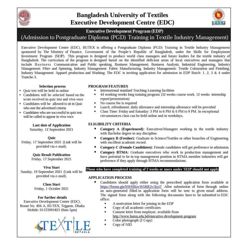 Postgraduate pg diploma in textile industry management EDP Circular