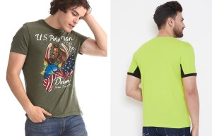 Green Crew Neck T-Shirt and Colorful Sweatpants
