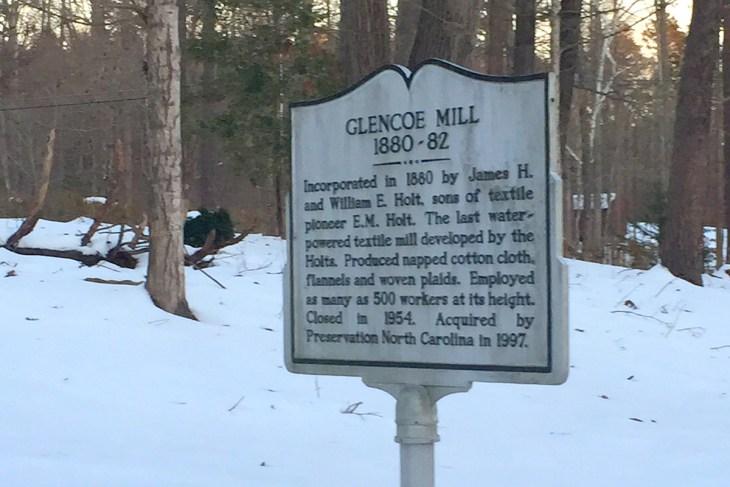 Glencoe historical marker in snow photo