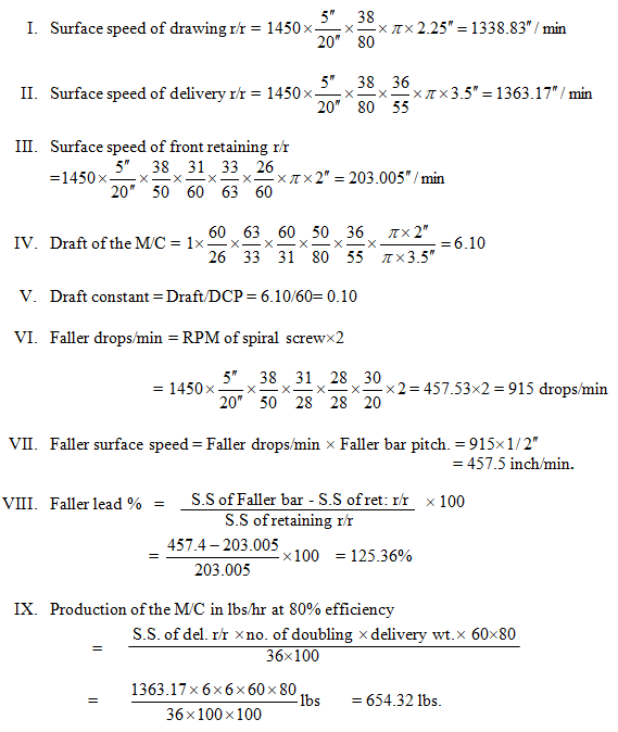 calculation of Jute 3rd draw frame