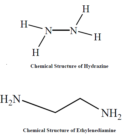 chemical structure of hydrazine and ethylenediamine