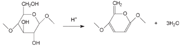 dehydration of cellulose by strong acids