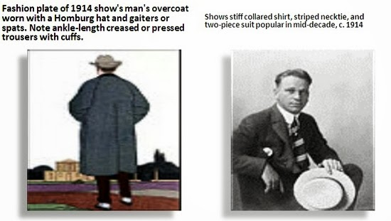 Mens overcoat and two piece suit 1914