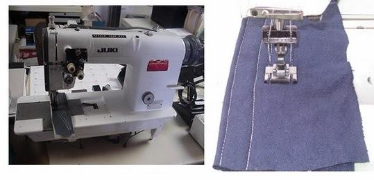 Industrial double needle lockstitch machine and stitching