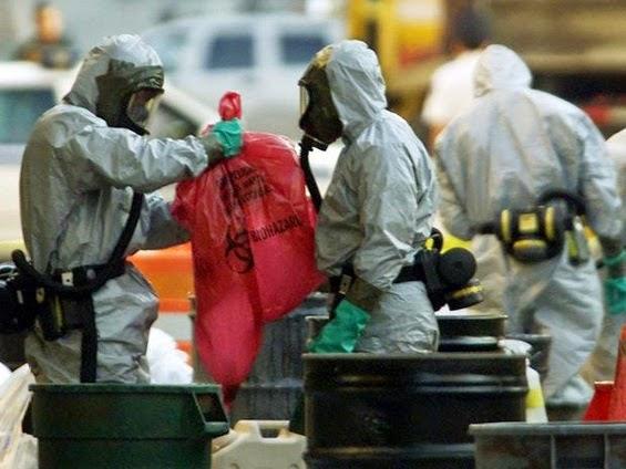 Biohazard Survival Suits worn during disposal of biohazard material