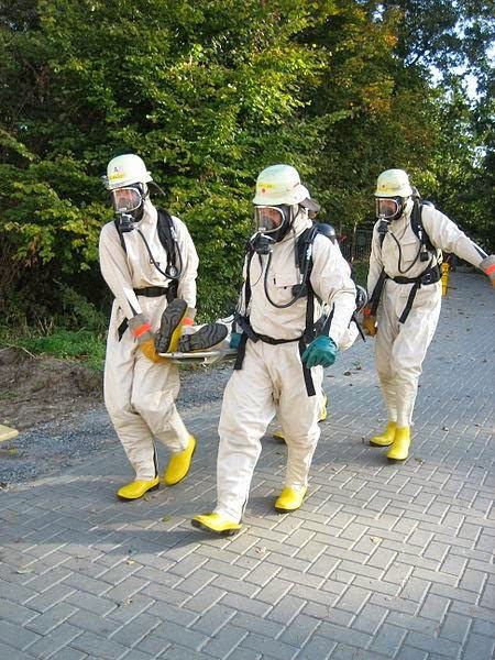 Rescue Team wearing Hazmat Suits