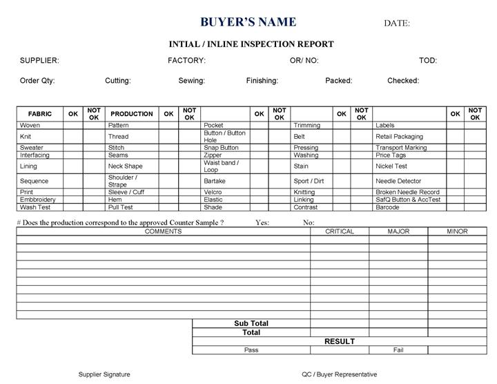 Inline Inspection Sheet