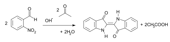 The Baeyer-Drewson reaction of 2-nitrobenzaldehyde with acetone in basic conditions to produce indigo