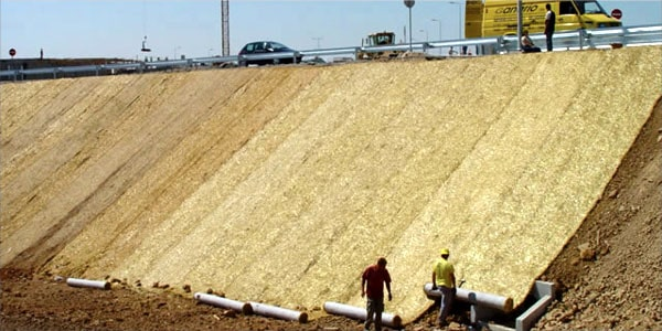 Geo-textile used along riverside to protect land reclamation