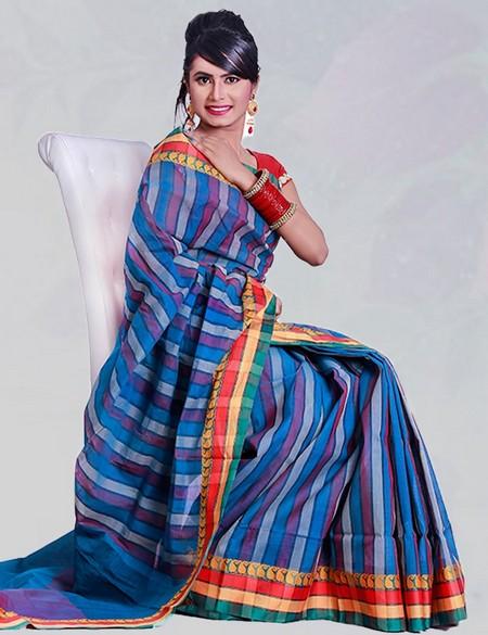 beautiful tangail handloom cotton saree