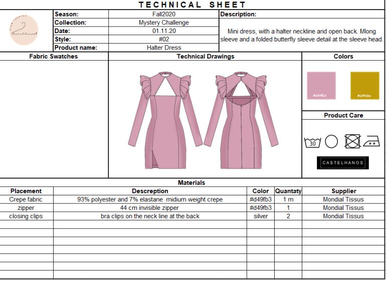 Garment specification sheet