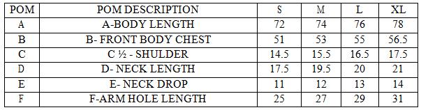 Measurements of Short Sleeve T-shirt