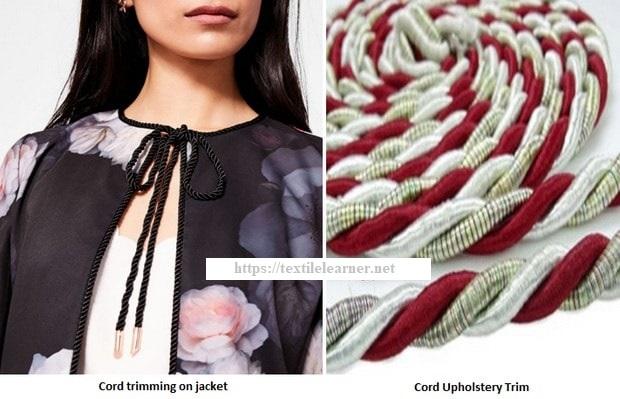 Cord fashion trims on clothing
