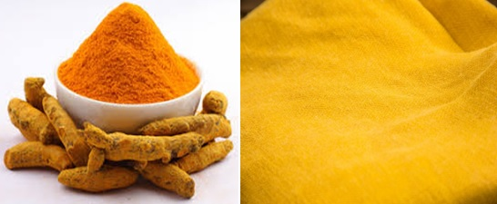 Turmeric and dyed fabric