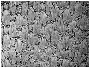 Scanning electron micrograph showing fabric woven with multifilament (warp) and woollen ring-spun (weft) yarns