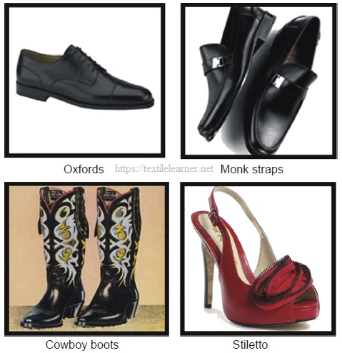 Different types of footwear