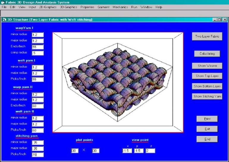 The 3D structure simulation of a two-layer fabric with weft stitching