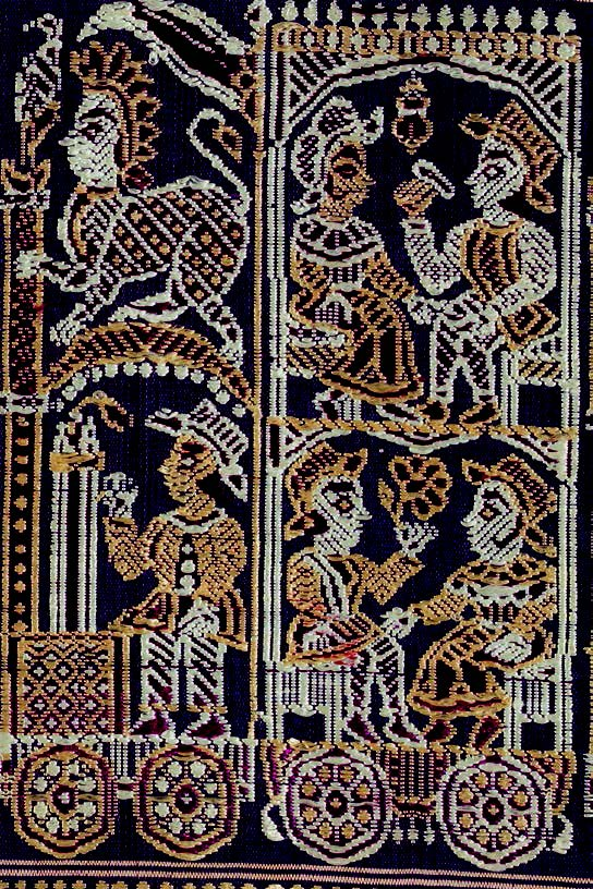 Europeans in a train; detail of sari anchal, mid-19th century, catalogue #16: courtesy Tapi Collection