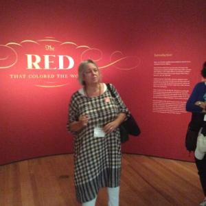 Elena Phipps, guiding participants through the exhibition on Cochineal Red Dye