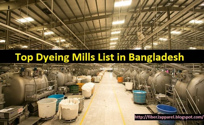 Textile dyeing mills or factory list in Bangladesh