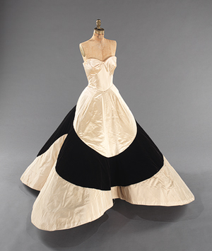 """53.169.1_threequarter_front 0002 Working Title/Artist: Charles James: Ball GownDepartment: Costume InstituteCulture/Period/Location: HB/TOA Date Code: Working Date: photography by mma, Digital File """" 53.169.1_threequarter_front_CP3.tif"""" retouched by film and media (jnc) 2_28_12"""