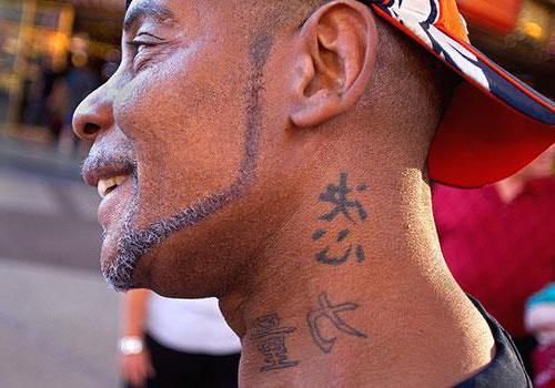 Тату иероглифы на шее: значение символов