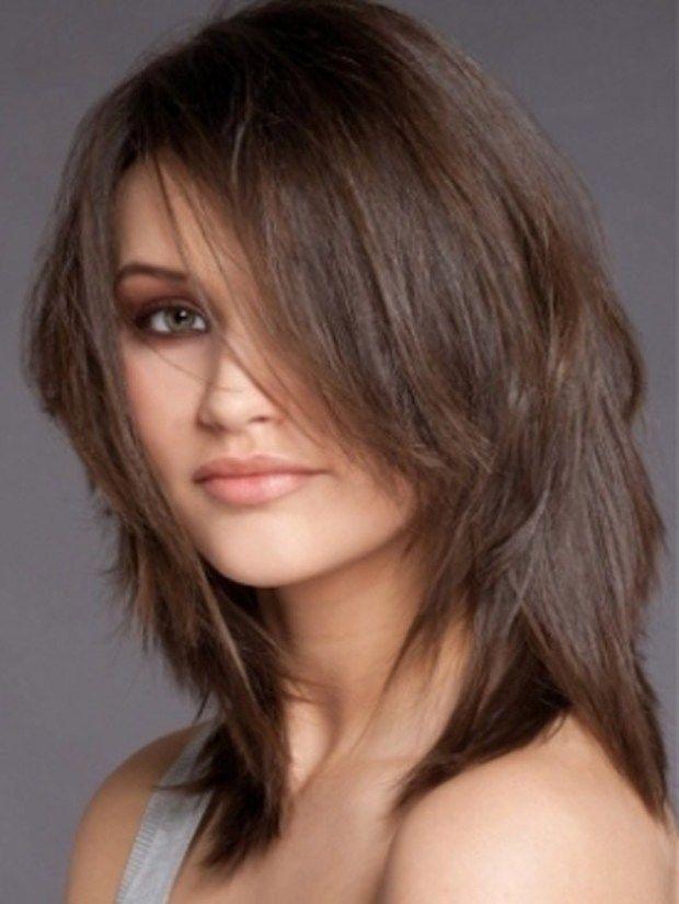 стрижка двойной каскад на средние волосы