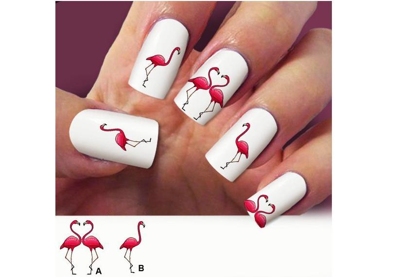 наклейки на ногти фламинго