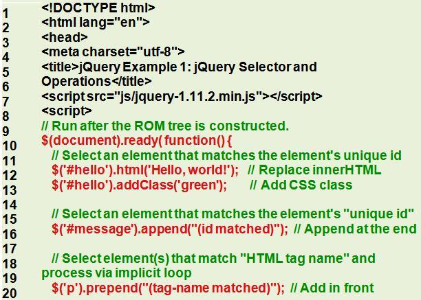 Пример селектор jQuery и операции