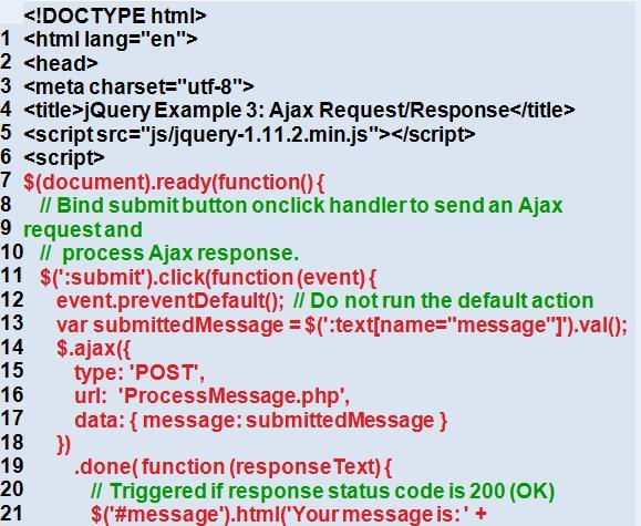 Код запроса и ответа AJAX