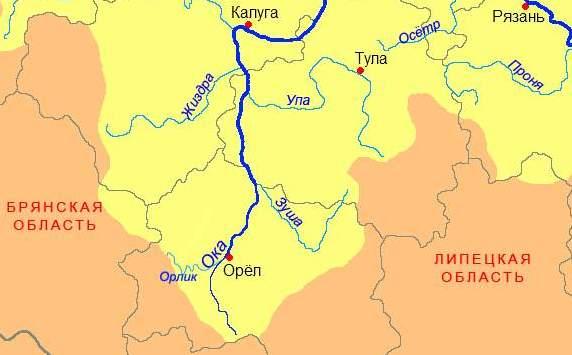 река Зуша на карте