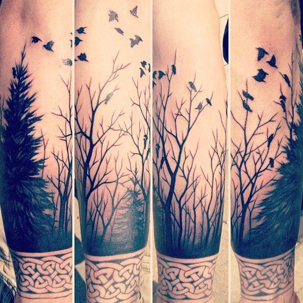 тату-рукав лес и птицы
