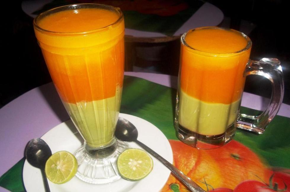 Трехслойный фруктовый сок