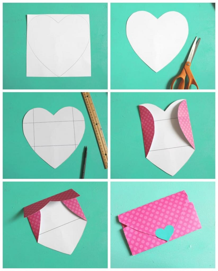 декоративный конверт-сердце
