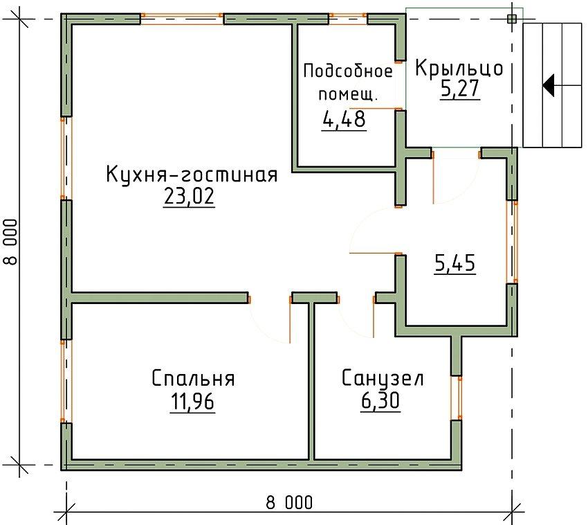 планировка дома 8 на 8