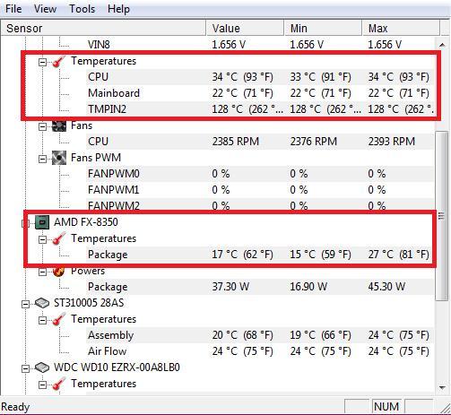 Определение температуры процессора в программе HWMonitor