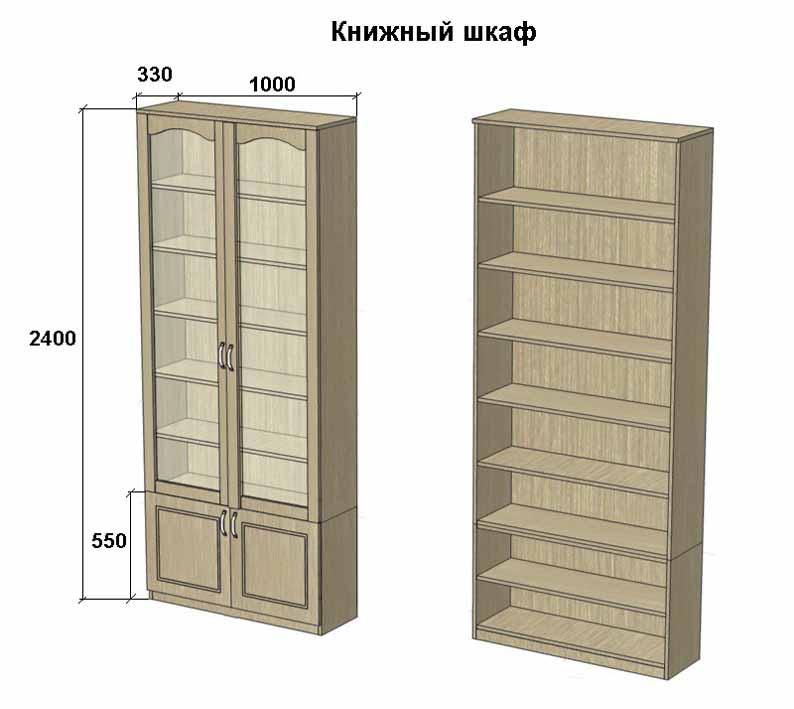 Размеры книжного шкафа