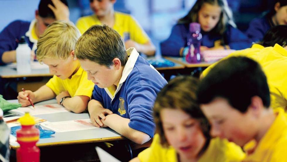 школьники в синих и желтых майках
