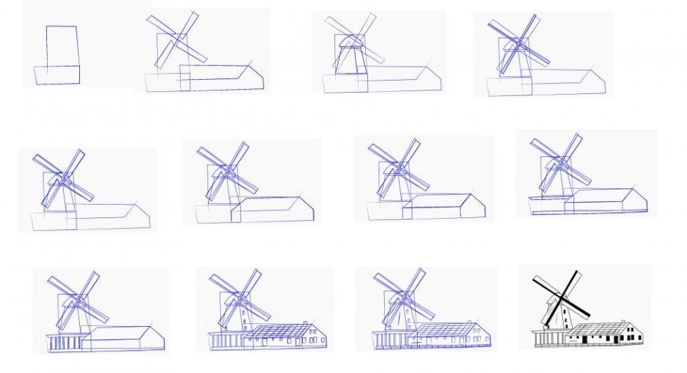 как нарисовать мельницу карандашом