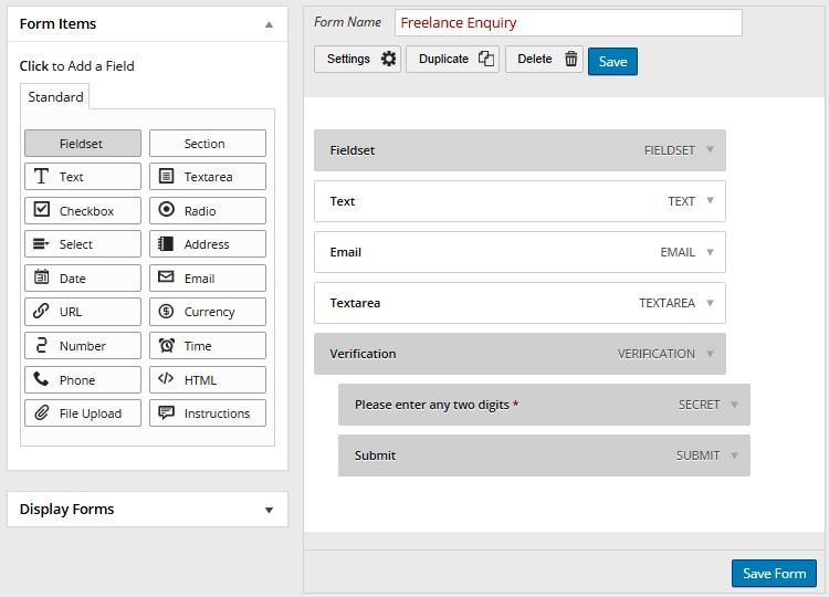 Комплексный инструмент WordPress Form Builder