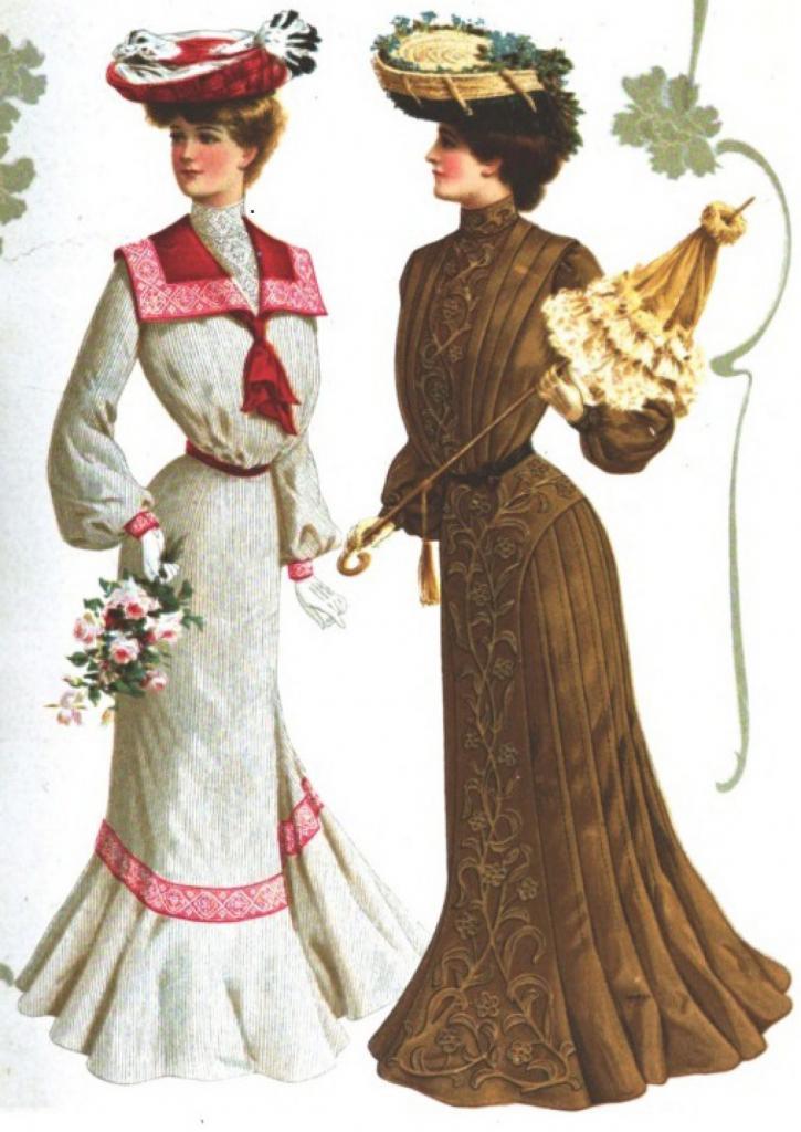 Вид платьев до первой мировой