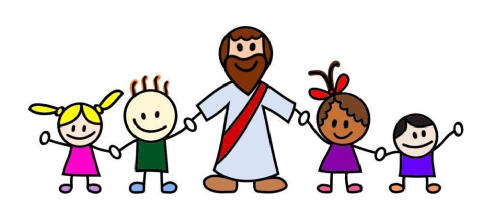 Иисус держится за руки с детьми